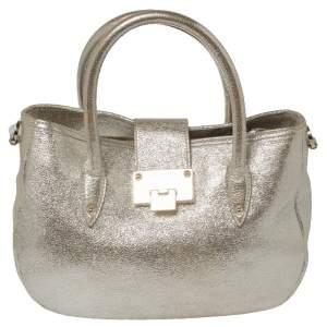 Jimmy Choo Metallic Gold Crinkled Leather Tote Bag
