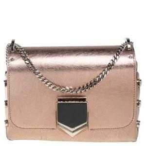 Jimmy Choo Metallic Rose Gold Leather Lockett Shoulder Bag