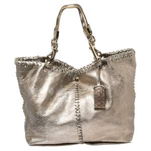 Jimmy Choo Metallic Leather and Snakeskin Trim Whipstitch Tote