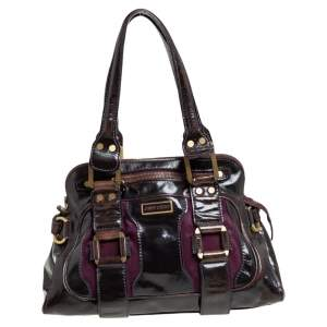 Jimmy Choo Dark Brown/Purple Patent Leather and Suede Malena Satchel