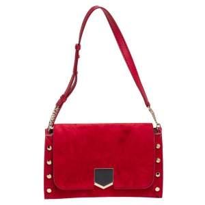 Jimmy Choo Red Suede Lockett Shoulder Bag