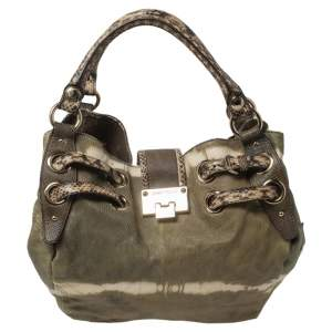 Jimmy Choo Green/Brown Python Embossed Leather Riki Tote