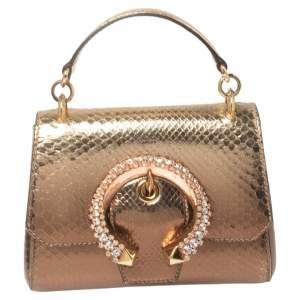 Jimmy Choo Metallic Bronze Python Leather Madeline Top Handle Bag