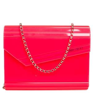Jimmy Choo Neon Pink Acrylic Candy Clutch Bag