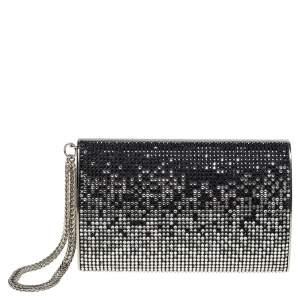 Jimmy Choo Silver/Black Crystal Embellished Clutch
