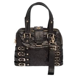 Jimmy Choo Black Shimmery Suede Blythe M Bag