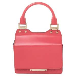 Jimmy Choo Pink Leather Top Flap Handle Bag