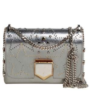 Jimmy Choo Silver Leather Studded Lockett Petite Shoulder Bag