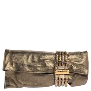 Jimmy Choo Gold Shimmery Leather Chandra Clutch