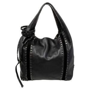 Jimmy Choo Black Studded Leather Saba Hobo