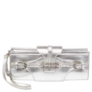 Jimmy Choo Metallic Silver Leather Tulita Wristlet Clutch