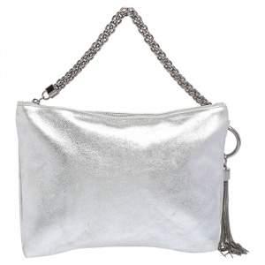 Jimmy Choo Metallic Silver Leather Callie Tassel Clutch