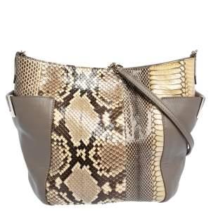 Jimmy Choo Grey/Cream Python and Leather Side Pocket Chain Shoulder Bag