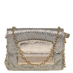 Jimmy Choo Gold Glitter And Metallic Leather Caro Chain Bag