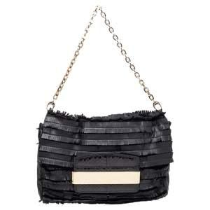 Jimmy Choo Black Python Leather and Suede Carolina Fringe Shoulder Bag