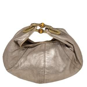 Jimmy Choo Metallic Beige Leather Carina Clutch