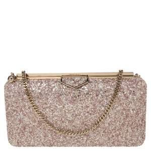 Jimmy Choo Gold/Pink Champagne Coarse Glitter Ellipse Chain Clutch