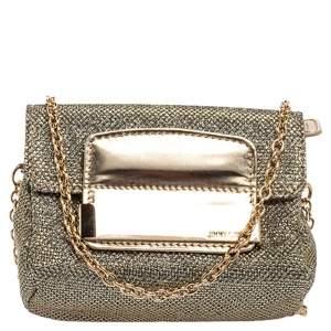 Jimmy Choo Metallic Gold Glitter Fabric And Leather Caro Crossbody Bag