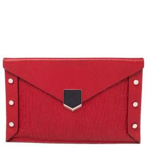 Jimmy Choo Red Leather Lockett Envelope Clutch
