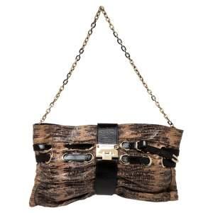 Jimmy Choo Beige/Brown Lizard Embossed Leather Chain Shoulder Bag