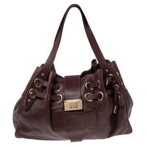 Jimmy Choo Burgundy Leather Ramona Tote Bag