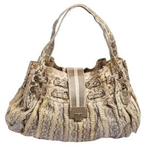 Jimmy Choo Grey/White Python Embossed Leather Ramona Shoulder Bag