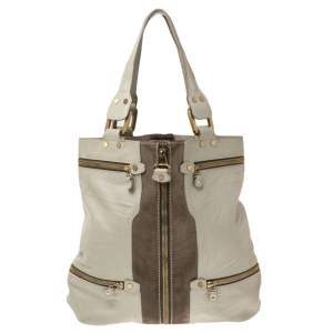 Jimmy Choo Grey Leather and Suede Large Mona Tote