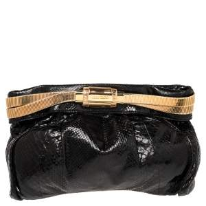 Jimmy Choo Black Python Oversized Zip Clutch