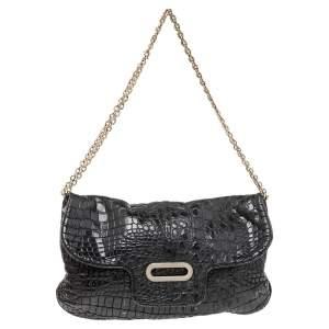 Jimmy Choo Black Croc Embossed Leather Shoulder Bag