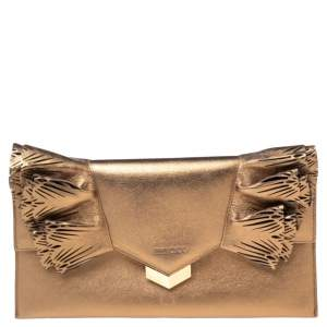 Jimmy Choo Gold Leather Isabella Clutch