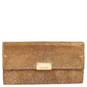Jimmy Choo Gold Shimmery Suede Reese Clutch