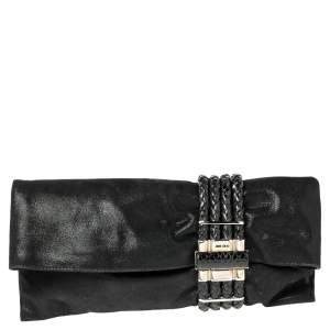 Jimmy Choo Black Leather and Suede Chandra Clutch