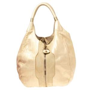 Jimmy Choo Beige/Gold Leather and Suede Mandah Expandable Bag
