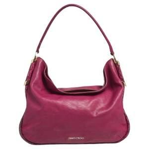 Jimmy Choo Pink Leather and Python Trim Zoe Hobo