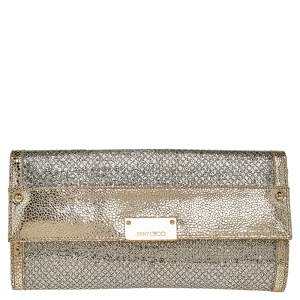 Jimmy Choo Metallic Gold Glitter And Textured Leather Reese Flap Clutch