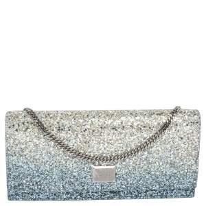 Jimmy Choo Blue Glitter Lilia Chain Clutch