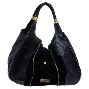 Jimmy Choo Black Leather and Suede Mona Tote