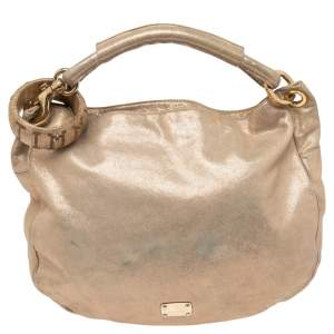 Jimmy Choo Shimmery Gold Suede Small Solar Hobo