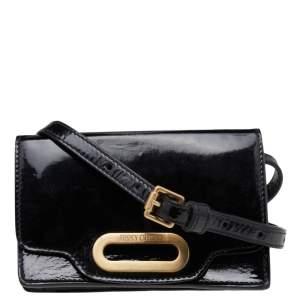 Jimmy Choo Black Patent Leather Flap Crossbody Bag