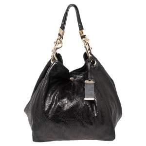 Jimmy Choo Black Embossed Leather Lohla Jayne Tote