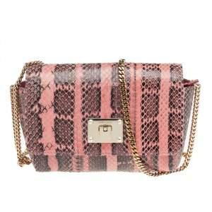 Jimmy Choo Pink/Black Python Leather Chain Flap Shoulder Bag