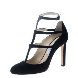 Jimmy Choo Black Suede and Patent Leather Doll Caged Round Toe Pumps Size 40