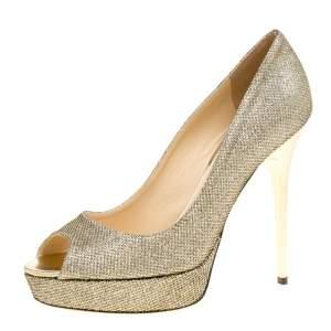 Jimmy Choo Metallic Gold Lamè Glitter Fabric Dahlia Platform Peep Toe Pumps Size 38