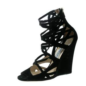 Jimmy Choo Black Suede Laser Cut Cage Wedge Sandals Size 39