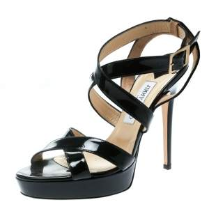 Jimmy Choo Black Patent Leather Vamp Platform Sandals Size 40