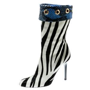 Jimmy Choo Monochrome Zebra Print Pony Hair And Blue Snakeskin Trim Jetson Boots Size 37.5