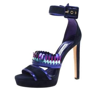 Jimmy Choo Navy Blue Suede Kathleen Peep Toe Ankle Cuff Sandals Size 40