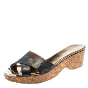 Jimmy Choo Metallic Blue Leather Panna Cork Slides Size 38.5
