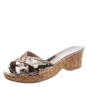 Jimmy Choo Two Tone  Python Embossed Leather Panna Cork Slides Size 38