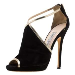 39 حذاء كعب عالي جيمي تشو فيي بسحاب خلفي جلد مدبوغ أسود مقاس
